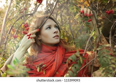 Fashion woman on autumn background
