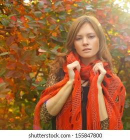 Fashion woman on autumn sun light