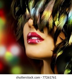 Fashion woman Portrait.Red Lips