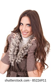 fashion woman posing with fur, isolated on white background