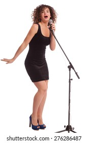 fashion woman singing into microphone on white background.