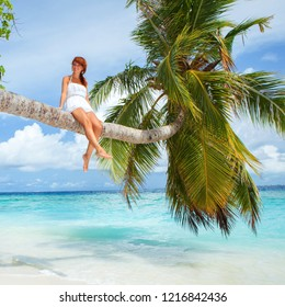 Fashion woman siting upon palm tree on the beach. Happy lifestyle. White sand, blue sky and crystal sea of tropical beach. Vacation at Paradise. Ocean beach relax, travel to islands