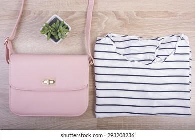 Fashion woman stuff on wooden background