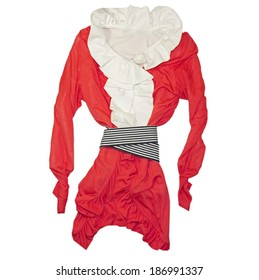 Fashion woman top & dress bended.Red vogue costume.Isolated.