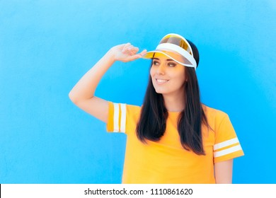 Fashion Woman with Yellow t-shit and Clear Visor Cap. Urban cool trendy girl in summer time fashionable outfit