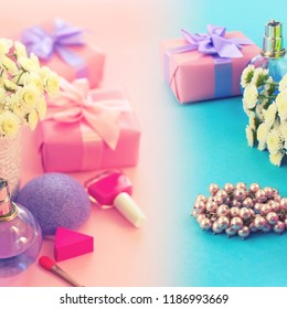Fashion women accessories cosmetics flowers bouquet gift box bow cocktail on pink background gradient blue. Top view fla tlay copy space