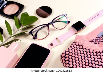 Fashion women clothing set and accessories. Vanilla Pastel colors. Summer street style. Trendy glasses, top, perfume, powder, watches, flowers. Summer lady. Creative urban overhead summer top view