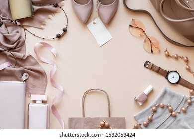 Fashion women stylish accessories outfit glamour set with label flat lay beige pastel background table with copy mock up space, female clothing offers shopping sale concept, above top view close up