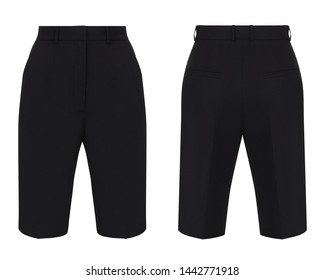 Fashion women trendy black classic shorts, isolated on white, clipping, for design, front and back view, ghost mannequin