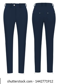 Fashion women trendy tight-fitting blue pants, isolated on white background, clipping, for design, front and back view, ghost mannequin