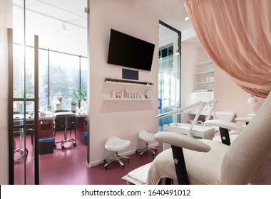 Fashion Workplace. Nails beauty salon pedicure sofa chairs in art deco style