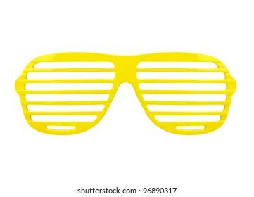 fashion yellow shades sunglasses isolated on white background