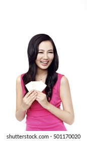 Fashion young woman holding a credit card
