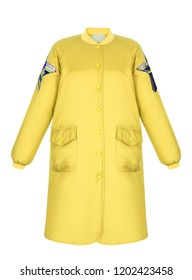 Fashionable autumn bright yellow coat, waterproof, long oversized bomber jacket with sequin trim, patch pockets, clipping, isolated on white background, ghost mannequin, front view, mock-up
