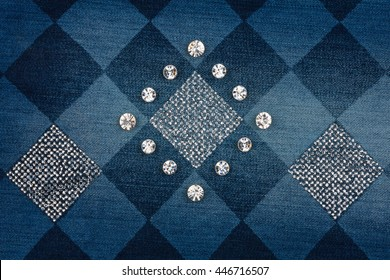 Fashionable background, jeans inlaid rhinestones, can be used as texture