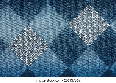 Fashionable background,  jeans in  rhinestones, texture