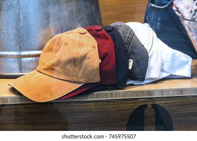 Fashionable Baseball Hats in various color on display