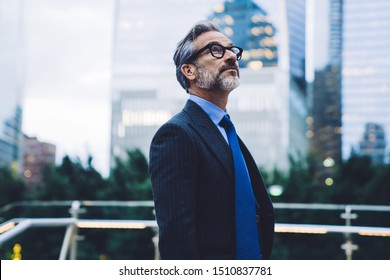 Fashionable bearded middle aged gray haired businessman in spectacles and black coat and blue tie looking up on blurred urban background in New York