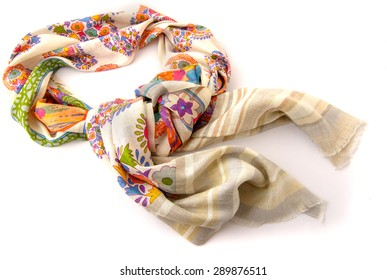 Fashionable beige female scarf isolated on white