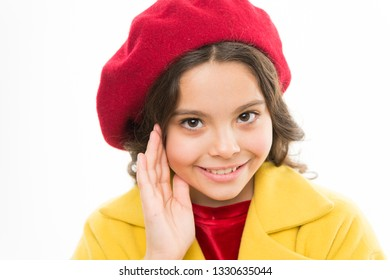Fashionable beret accessory for female. Spring fashion. Dreamy mood. Fashion accessory for little kids. Dress up like fashion girl. Kid little cute girl smiling face posing in hat isolated on white.