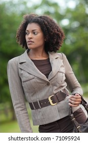 Fashionable black woman in the park