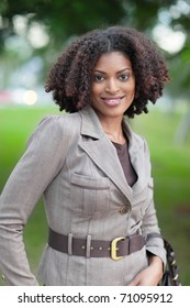 Fashionable black woman smiling
