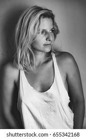 Fashionable blonde woman portrait