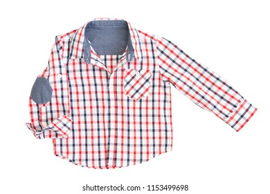 Fashionable blue-red caged shirt for a boy isolated on a white background/ Top view/ Flat lay/ Baby clothes/ Close-up