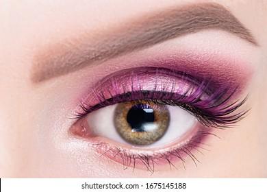 Fashionable bright eye make up close-up. Female eye with pink violet shadows and false eyelashes, macro.