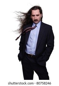 Fashionable businessman with long wind blown hair 1