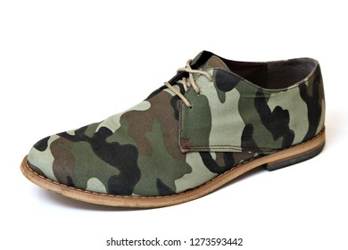 A fashionable camouflage designed formal mens shoe isolated on a white background.