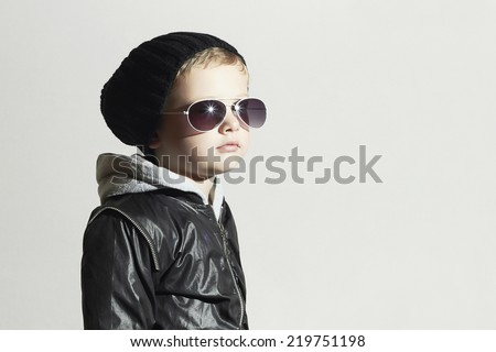 Fashionable child boy in