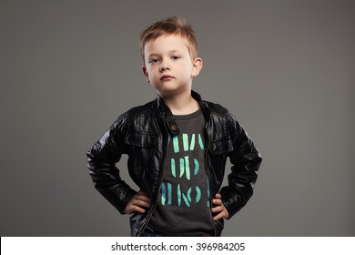 Fashionable child in leather coat.stylish little boy. spring kids fashion