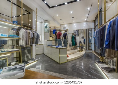 Fashionable clothes in boutique