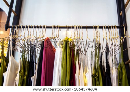 e2ffb648b53 Fashionable Clothes Boutique Store Stock Photo (Edit Now) 1064374604 ...