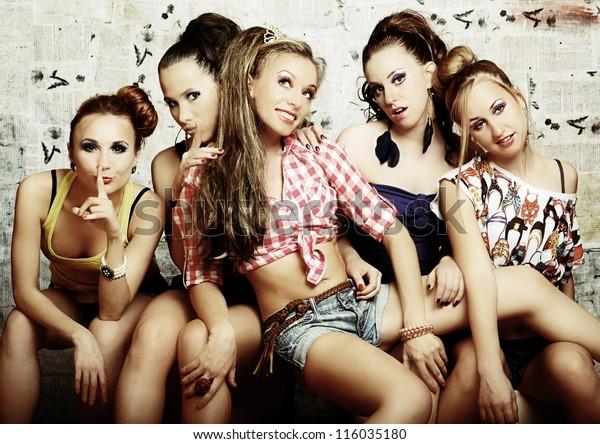 fashionable club girls