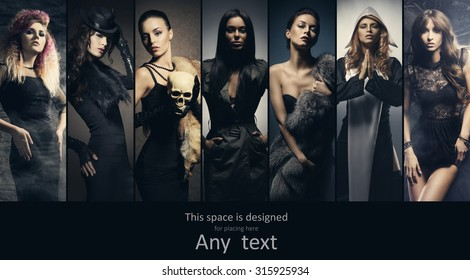 Fashionable collection of different women posing in fashion dresses. Style, clothes and beauty concept.