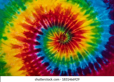 Fashionable Colorful Red, Blue, Yellow Green, Orange, Purple Retro Abstract Psychedelic Tie Dye Swirl Design