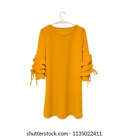 Fashionable concept. Mustard dress on white background. Isolate