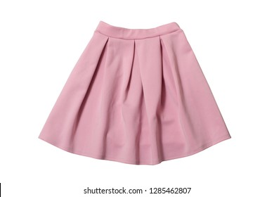 Fashionable concept. Pink skirt flat lay. Isolate on white background.