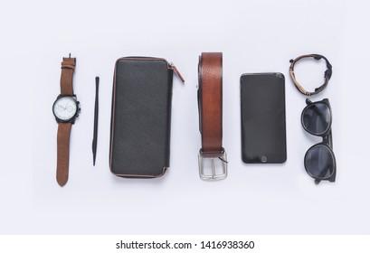 Fashionable concept. set of Men's fashionable  accessorie