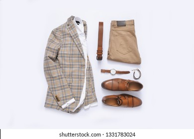 Fashionable concept. set of Men's fashionable clothes and accessories