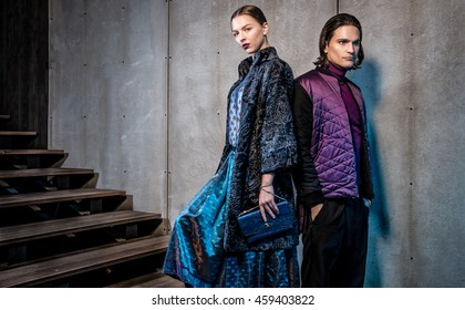 Fashionable couple  in interior