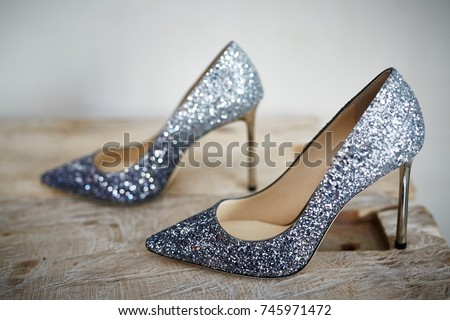 658887e11e1 Fashionable Expensive Silver Grey High Heels Stock Photo (Edit Now ...