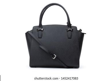 Fashionable female hand bag on white background