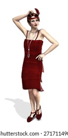 A fashionable flapper girl from the 1920's - 3d render.