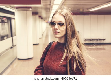 Fashionable girl in the subway
