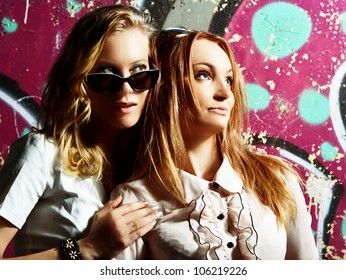 fashionable girls in sunglasses