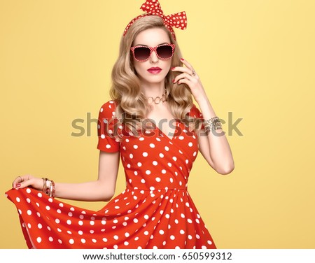 cd4cb66eb Fashionable Glamor Young Pin Woman Red Stock Photo (Edit Now ...
