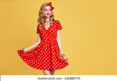 2aac2a62f Fashionable graceful Young woman posing on yellow background. Romantic  adorable blonde Girl in Trendy summer